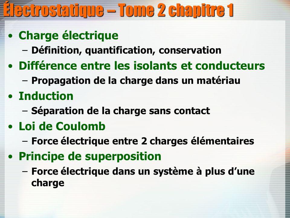 Électrostatique – Tome 2 chapitre 1 Charge électrique –Définition, quantification, conservation Différence entre les isolants et conducteurs –Propagat