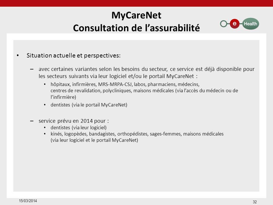 MyCareNet Consultation de lassurabilité Situation actuelle et perspectives: – avec certaines variantes selon les besoins du secteur, ce service est déjà disponible pour les secteurs suivants via leur logiciel et/ou le portail MyCareNet : hôpitaux, infirmières, MRS-MRPA-CSJ, labos, pharmaciens, médecins, centres de revalidation, polycliniques, maisons médicales (via laccès du médecin ou de linfirmière) dentistes (via le portail MyCareNet) – service prévu en 2014 pour : dentistes (via leur logiciel) kinés, logopèdes, bandagistes, orthopédistes, sages-femmes, maisons médicales (via leur logiciel et le portail MyCareNet) 15/03/2014 32