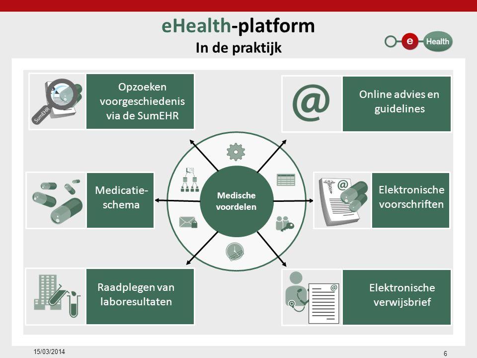 Medische voordelen eHealth-platform In de praktijk 15/03/2014 Raadplegen van laboresultaten Opzoeken voorgeschiedenis via de SumEHR Medicatie- schema Online advies en guidelines Elektronische verwijsbrief Elektronische voorschriften 6