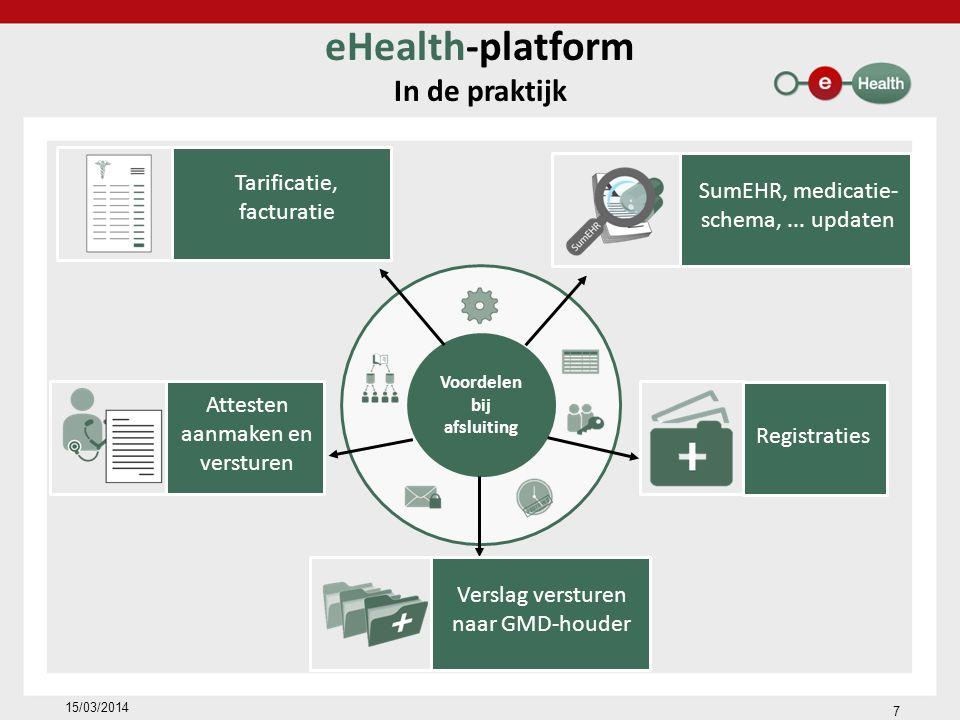 Voordelen bij afsluiting eHealth-platform In de praktijk 15/03/2014 Tarificatie, facturatie Attesten aanmaken en versturen SumEHR, medicatie- schema,...
