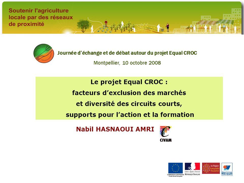 Au départ, une demande d accompagnement au développement de circuits de distribution de proximité, dans un contexte de crise Agriculteurs (adhérents CIVAM) impliqués dans des actions « Manger Bio » Crise et fragilisation de l agriculture régionale; dynamique démographique et nouvelles attentes des consommateurs Opportunité : programme Equal (2004 / 2008) Journée déchange et de débat autour du projet Equal CROC, Montpellier, 10 octobre 2008