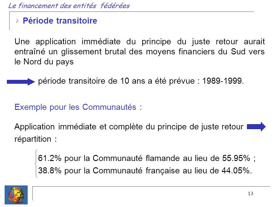 13 Période transitoire Une application immédiate du principe du juste retour aurait entraîné un glissement brutal des moyens financiers du Sud vers le Nord du pays période transitoire de 10 ans a été prévue : 1989-1999.