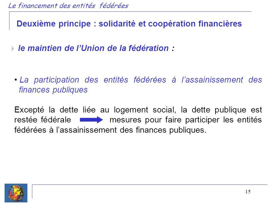 15 Deuxième principe : solidarité et coopération financières le maintien de lUnion de la fédération : La participation des entités fédérées à lassaini