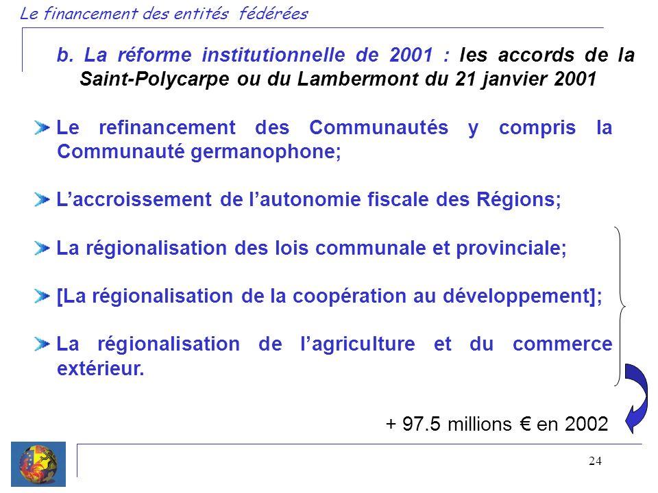 24 b. La réforme institutionnelle de 2001 : les accords de la Saint-Polycarpe ou du Lambermont du 21 janvier 2001 Le refinancement des Communautés y c