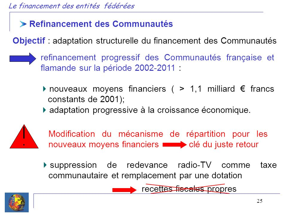 25 Refinancement des Communautés Objectif : adaptation structurelle du financement des Communautés refinancement progressif des Communautés française