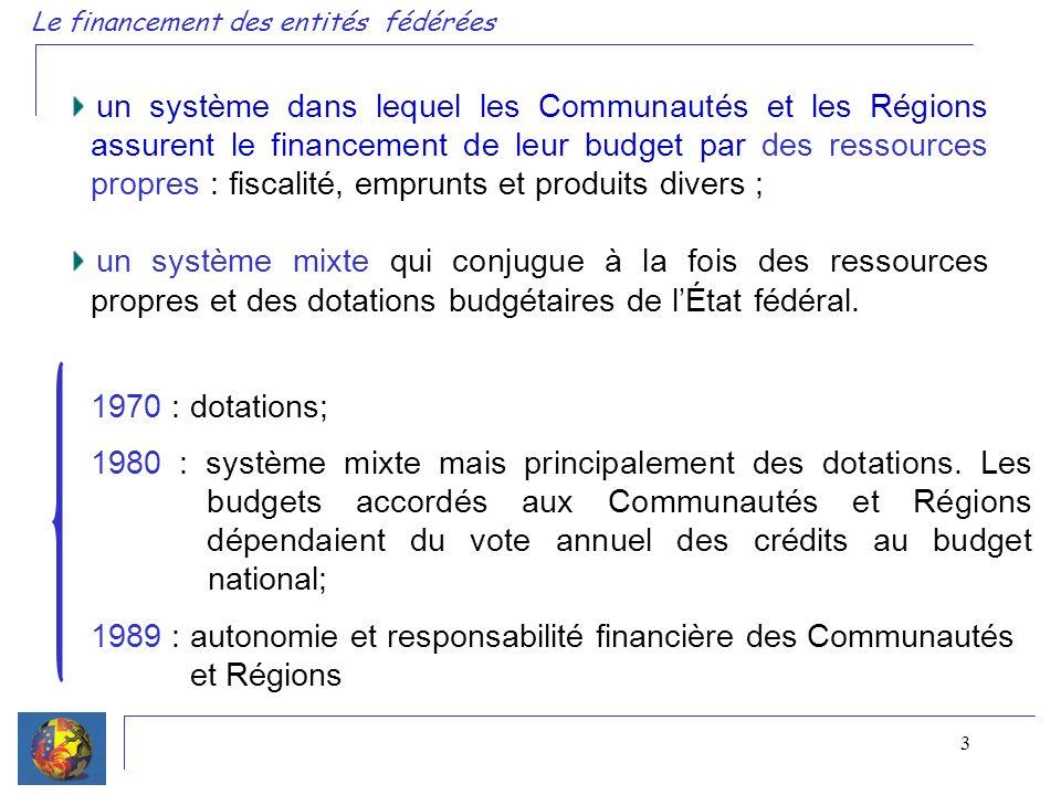 3 un système dans lequel les Communautés et les Régions assurent le financement de leur budget par des ressources propres : fiscalité, emprunts et produits divers ; un système mixte qui conjugue à la fois des ressources propres et des dotations budgétaires de lÉtat fédéral.