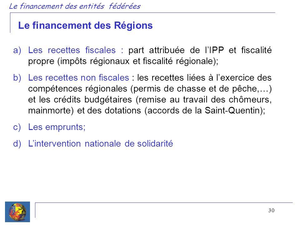 30 a)Les recettes fiscales : part attribuée de lIPP et fiscalité propre (impôts régionaux et fiscalité régionale); b)Les recettes non fiscales : les recettes liées à lexercice des compétences régionales (permis de chasse et de pêche,…) et les crédits budgétaires (remise au travail des chômeurs, mainmorte) et des dotations (accords de la Saint-Quentin); c)Les emprunts; d)Lintervention nationale de solidarité Le financement des Régions Le financement des entités fédérées