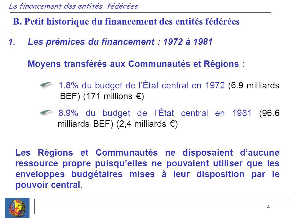 4 1. Les prémices du financement : 1972 à 1981 Le financement des entités fédérées Moyens transférés aux Communautés et Régions : 1.8% du budget de lÉ