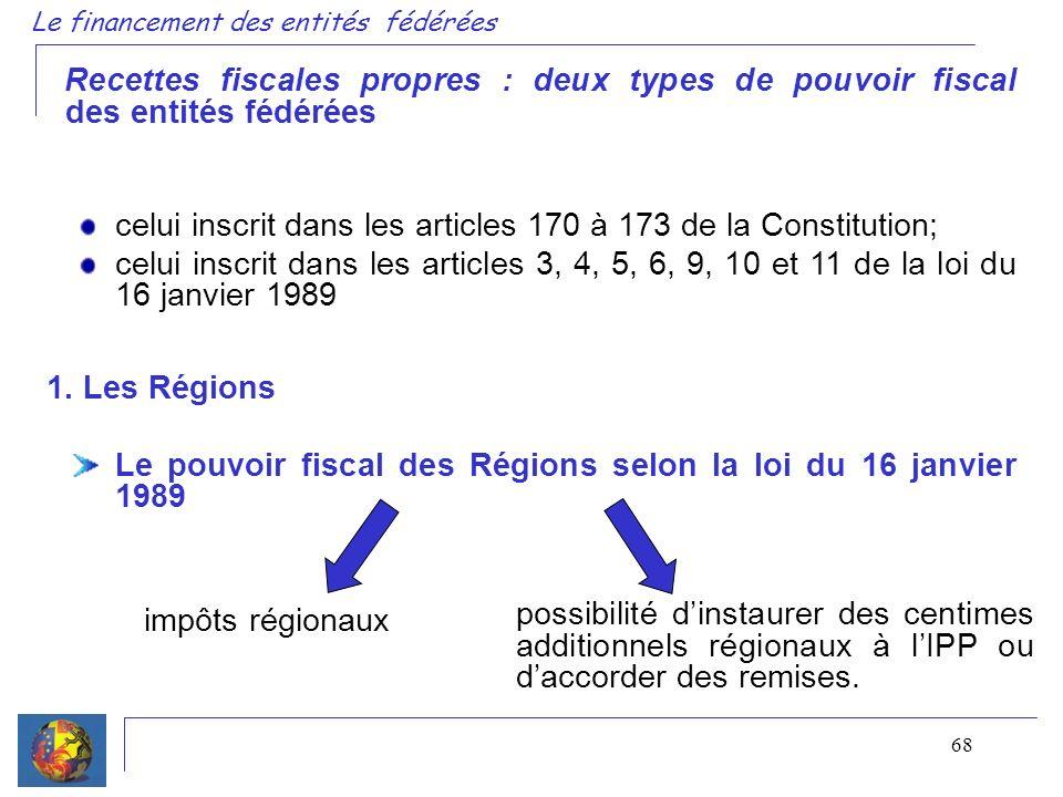 68 Le financement des entités fédérées Recettes fiscales propres : deux types de pouvoir fiscal des entités fédérées celui inscrit dans les articles 1