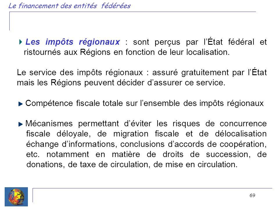 69 Le financement des entités fédérées Les impôts régionaux : sont perçus par lÉtat fédéral et ristournés aux Régions en fonction de leur localisation