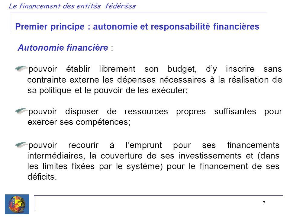 7 Premier principe : autonomie et responsabilité financières Autonomie financière : pouvoir établir librement son budget, dy inscrire sans contrainte