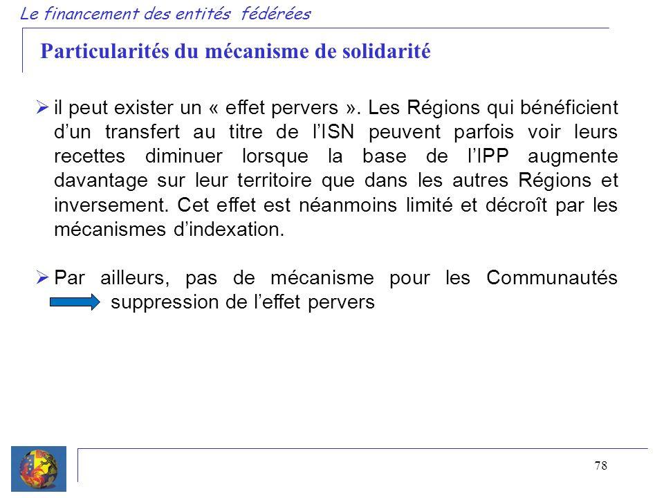 78 Le financement des entités fédérées Particularités du mécanisme de solidarité il peut exister un « effet pervers ». Les Régions qui bénéficient dun