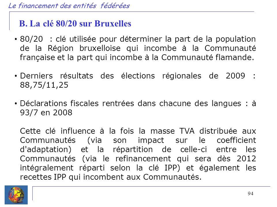 94 Le financement des entités fédérées B. La clé 80/20 sur Bruxelles 80/20 : cl é utilis é e pour d é terminer la part de la population de la R é gion