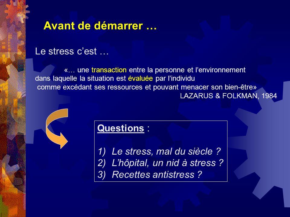 Avant de démarrer … Le stress cest … «… une transaction entre la personne et lenvironnement dans laquelle la situation est évaluée par lindividu comme