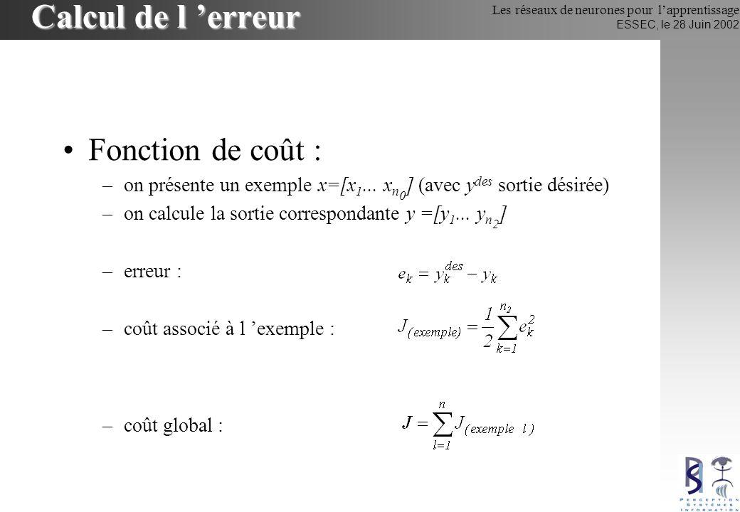 Les réseaux de neurones pour lapprentissage ESSEC, le 28 Juin 2002 Calcul de l erreur Fonction de coût : –on présente un exemple x=[x 1... x n 0 ] (av