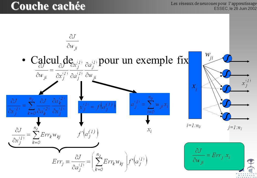 Les réseaux de neurones pour lapprentissage ESSEC, le 28 Juin 2002 Couche cachée Calcul de pour un exemple fixé w ji xixi j=1:n 1 i=1:n 0