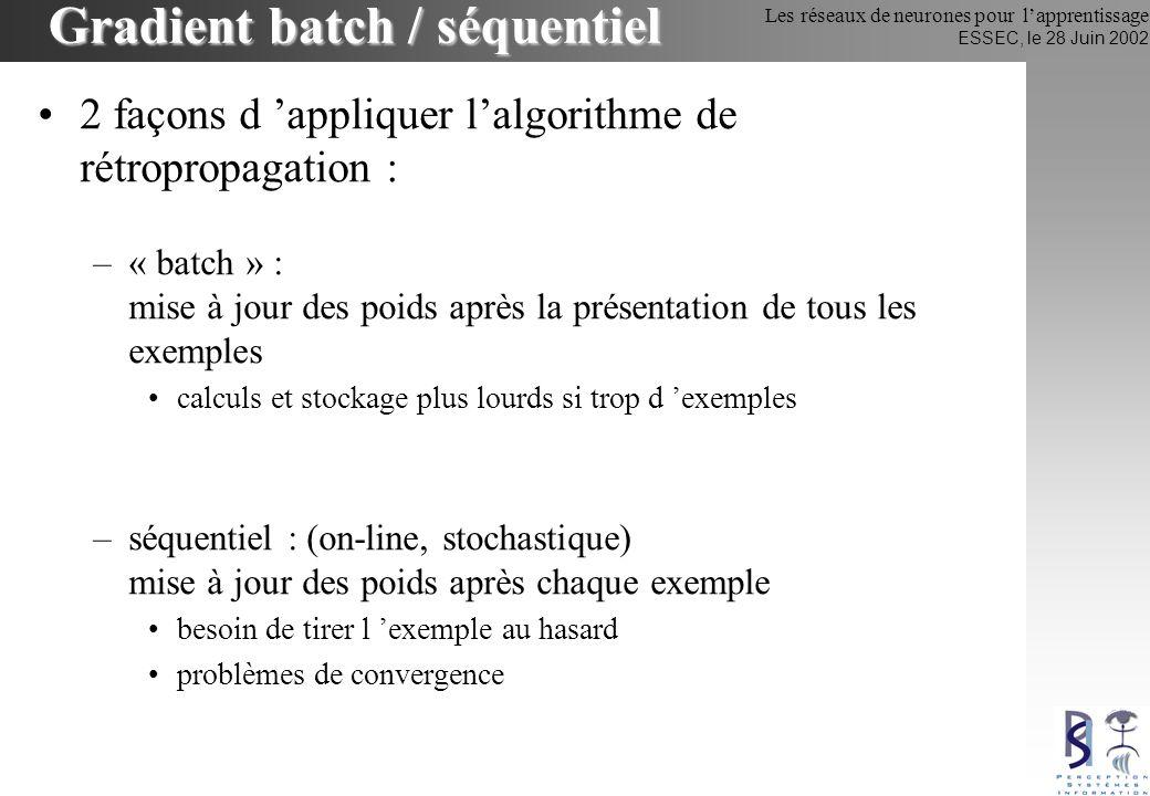 Les réseaux de neurones pour lapprentissage ESSEC, le 28 Juin 2002 Gradient batch / séquentiel 2 façons d appliquer lalgorithme de rétropropagation :