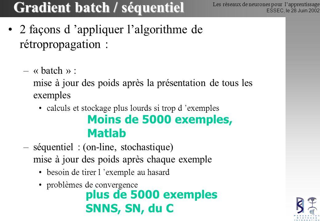 Les réseaux de neurones pour lapprentissage ESSEC, le 28 Juin 2002 2 façons d appliquer lalgorithme de rétropropagation : –« batch » : mise à jour des
