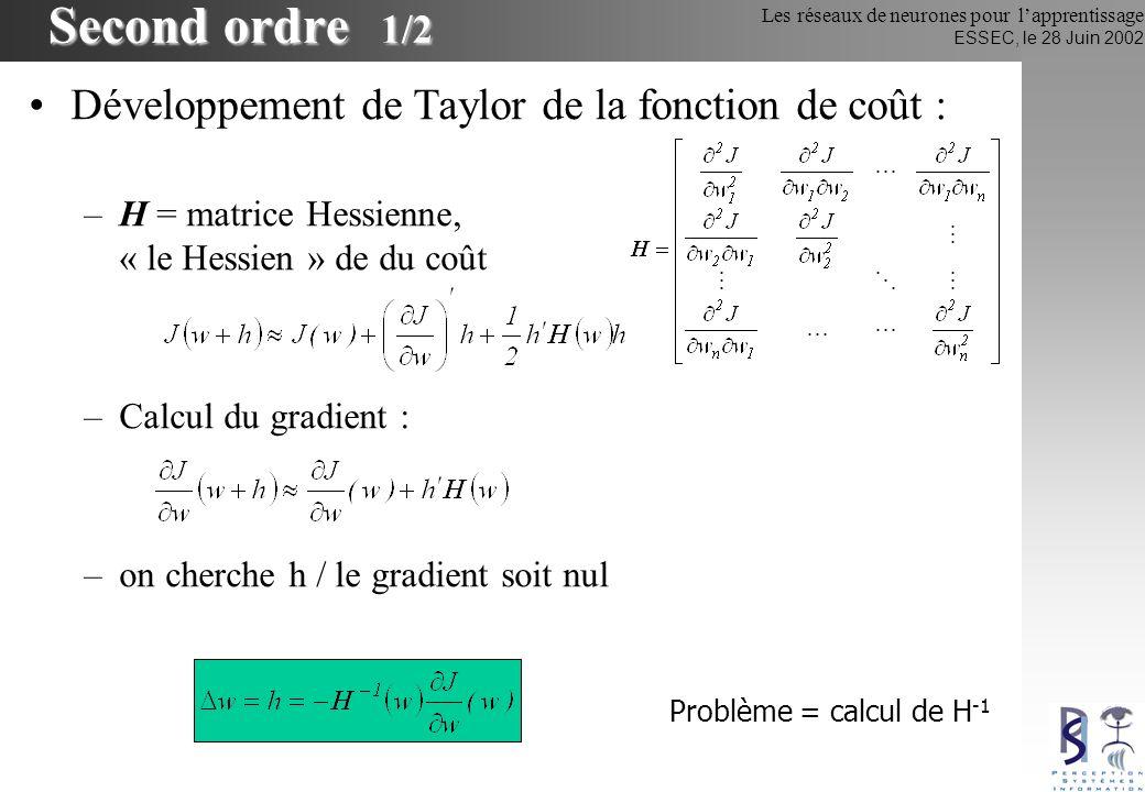 Les réseaux de neurones pour lapprentissage ESSEC, le 28 Juin 2002 Second ordre 1/2 Développement de Taylor de la fonction de coût : –H = matrice Hess