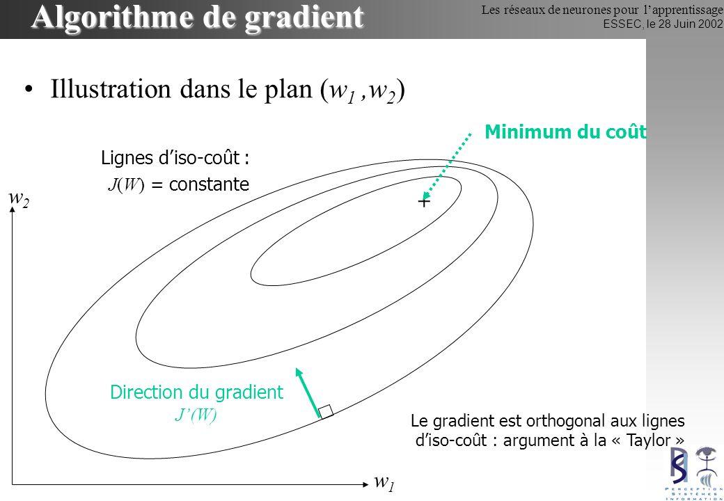 Les réseaux de neurones pour lapprentissage ESSEC, le 28 Juin 2002 Algorithme de gradient Illustration dans le plan (J(w),w) : la « descente » de gradient w J(w) Minimum du coût Direction du gradient J(W)