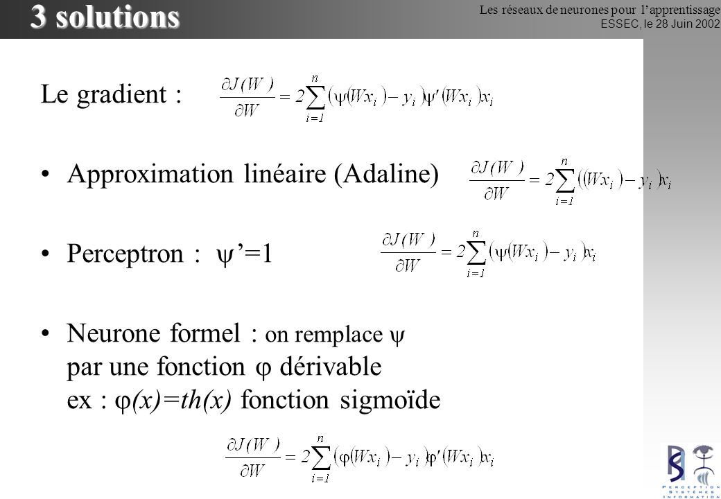 Les réseaux de neurones pour lapprentissage ESSEC, le 28 Juin 2002 Perceptron Multi-Couches Réseau feedforward (1986) Fonction de transfert tanh(.) (sauf couche de sortie linéaire) Méthode dapprentissage (supervisé) usuelle : –rétropropagation du gradient x1x1 xixi xn0xn0 y