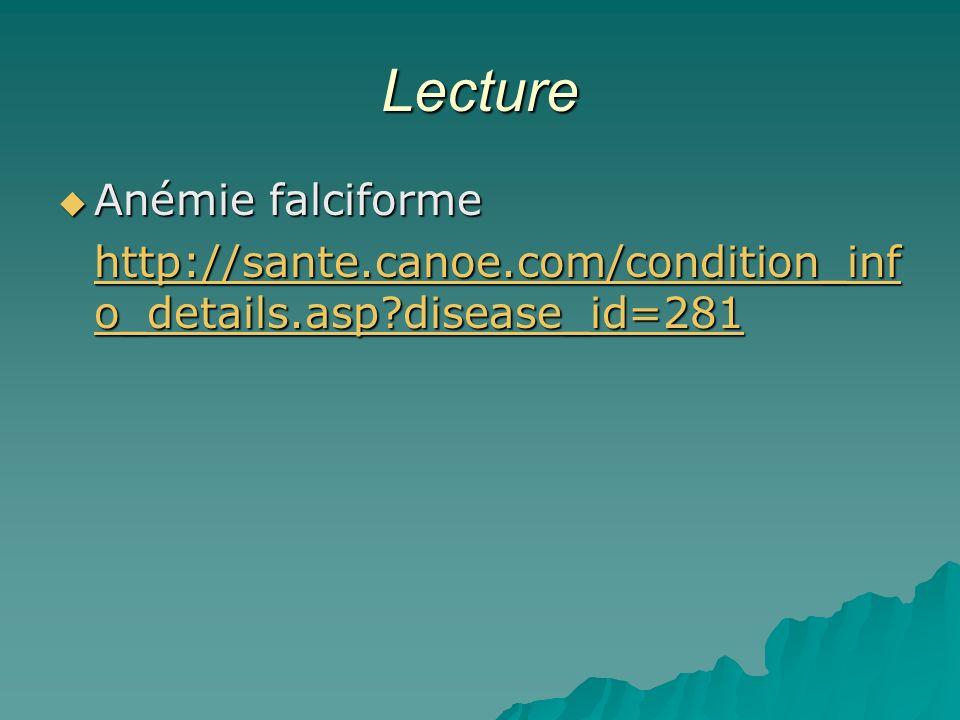 Lecture Anémie falciforme Anémie falciforme http://sante.canoe.com/condition_inf o_details.asp?disease_id=281 http://sante.canoe.com/condition_inf o_details.asp?disease_id=281