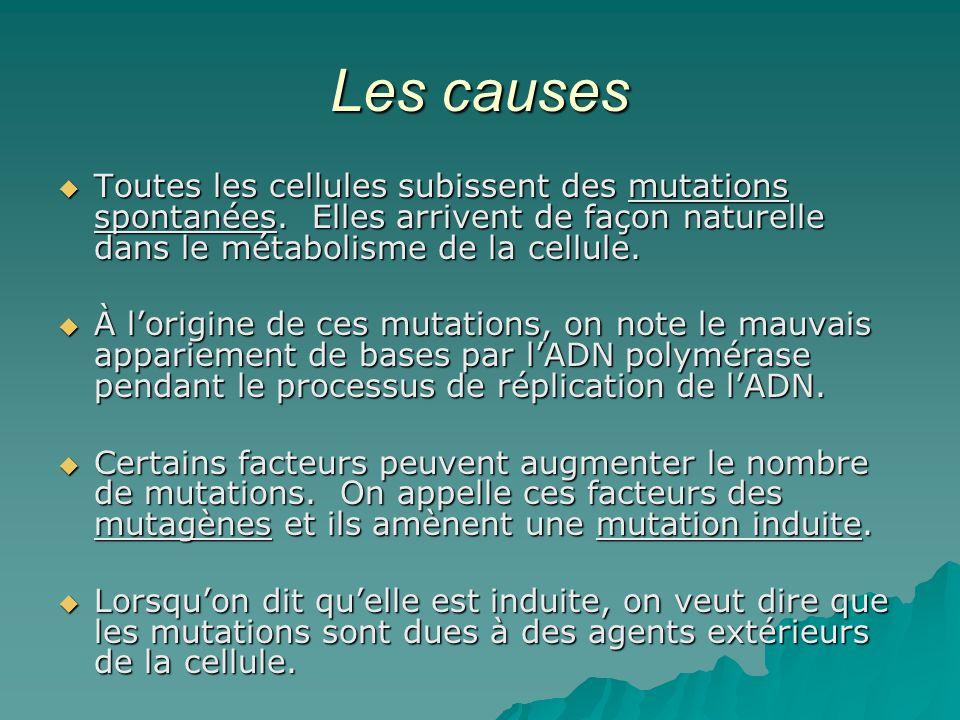Les causes Toutes les cellules subissent des mutations spontanées. Elles arrivent de façon naturelle dans le métabolisme de la cellule. Toutes les cel