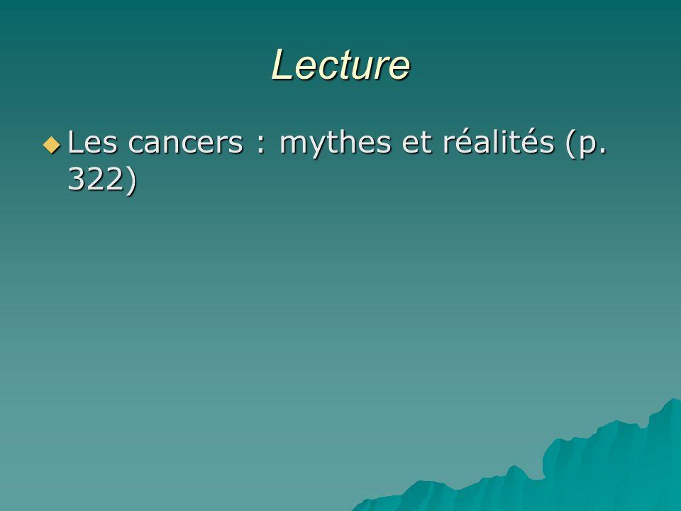 Lecture Les cancers : mythes et réalités (p. 322) Les cancers : mythes et réalités (p. 322)