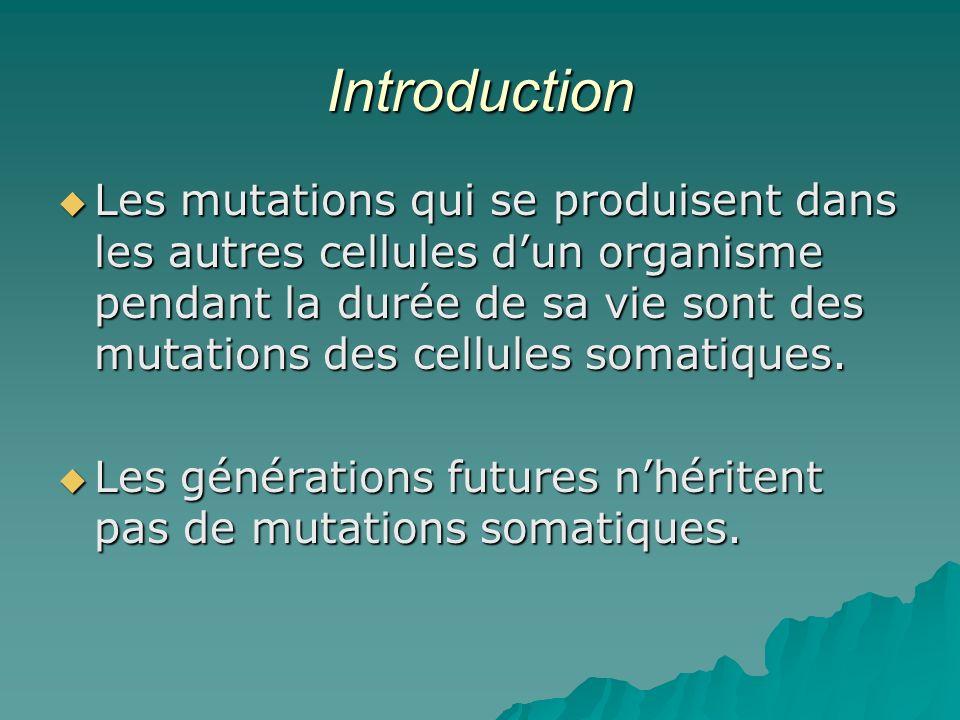Introduction Les mutations qui se produisent dans les autres cellules dun organisme pendant la durée de sa vie sont des mutations des cellules somatiq