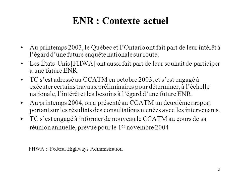 3 ENR : Contexte actuel Au printemps 2003, le Québec et lOntario ont fait part de leur intérêt à légard dune future enquête nationale sur route.
