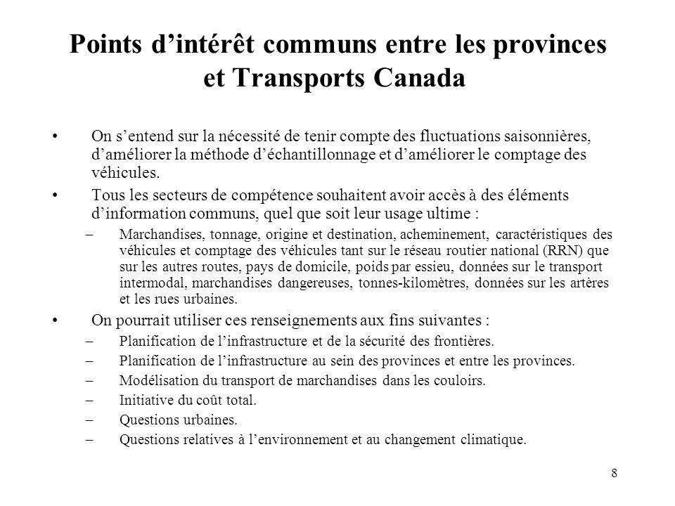 8 Points dintérêt communs entre les provinces et Transports Canada On sentend sur la nécessité de tenir compte des fluctuations saisonnières, daméliorer la méthode déchantillonnage et daméliorer le comptage des véhicules.