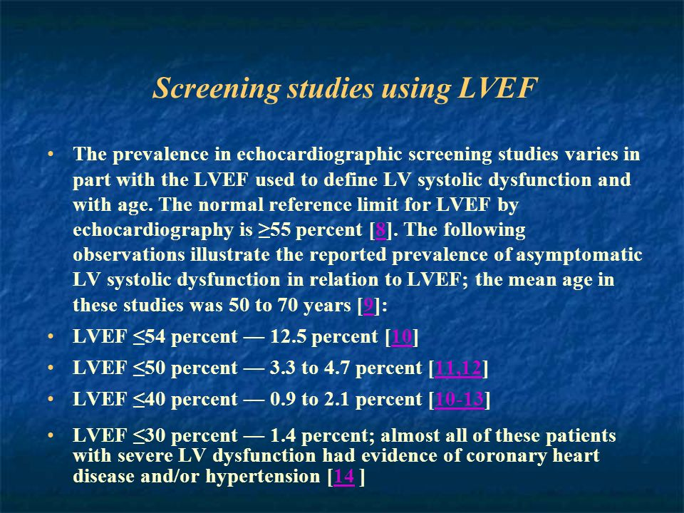 Screening studies using LVEF The prevalence in echocardiographic screening studies varies in part with the LVEF used to define LV systolic dysfunction