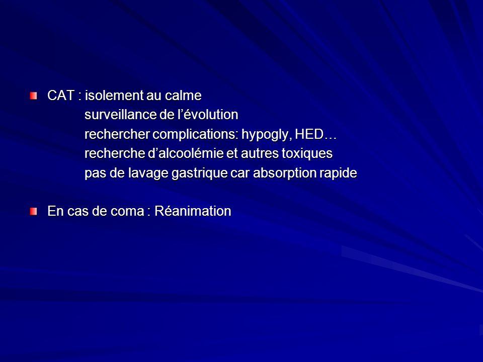 CAT : isolement au calme surveillance de lévolution surveillance de lévolution rechercher complications: hypogly, HED… rechercher complications: hypog