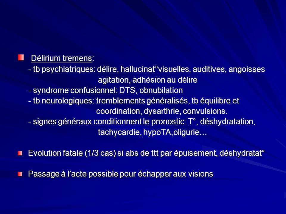 Délirium tremens: - tb psychiatriques: délire, hallucinat°visuelles, auditives, angoisses agitation, adhésion au délire - syndrome confusionnel: DTS,