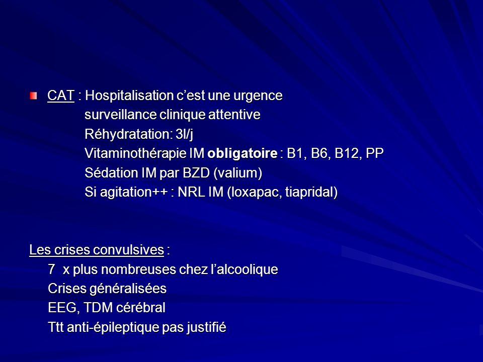CAT : Hospitalisation cest une urgence surveillance clinique attentive surveillance clinique attentive Réhydratation: 3l/j Réhydratation: 3l/j Vitamin