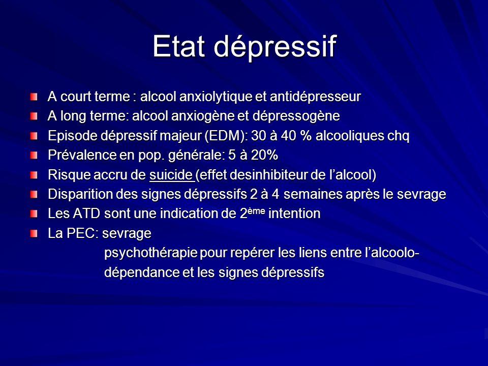Etat dépressif A court terme : alcool anxiolytique et antidépresseur A long terme: alcool anxiogène et dépressogène Episode dépressif majeur (EDM): 30