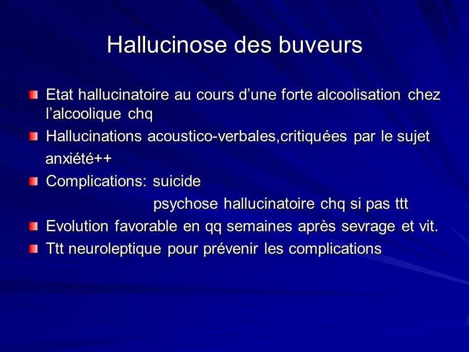 Hallucinose des buveurs Etat hallucinatoire au cours dune forte alcoolisation chez lalcoolique chq Hallucinations acoustico-verbales,critiquées par le