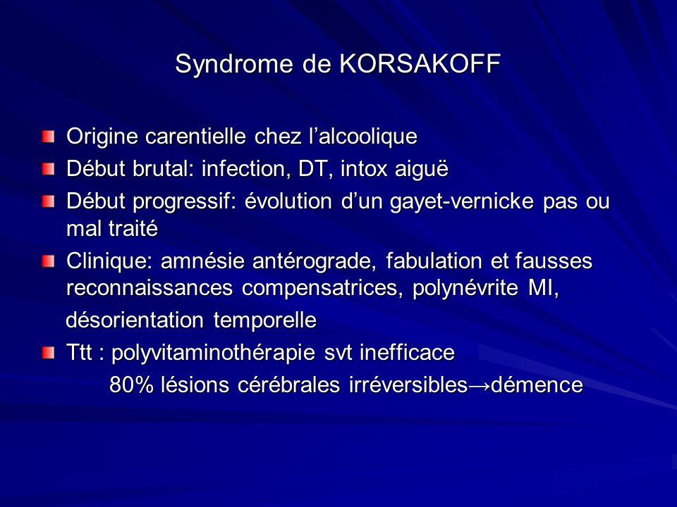 Syndrome de KORSAKOFF Origine carentielle chez lalcoolique Début brutal: infection, DT, intox aiguë Début progressif: évolution dun gayet-vernicke pas