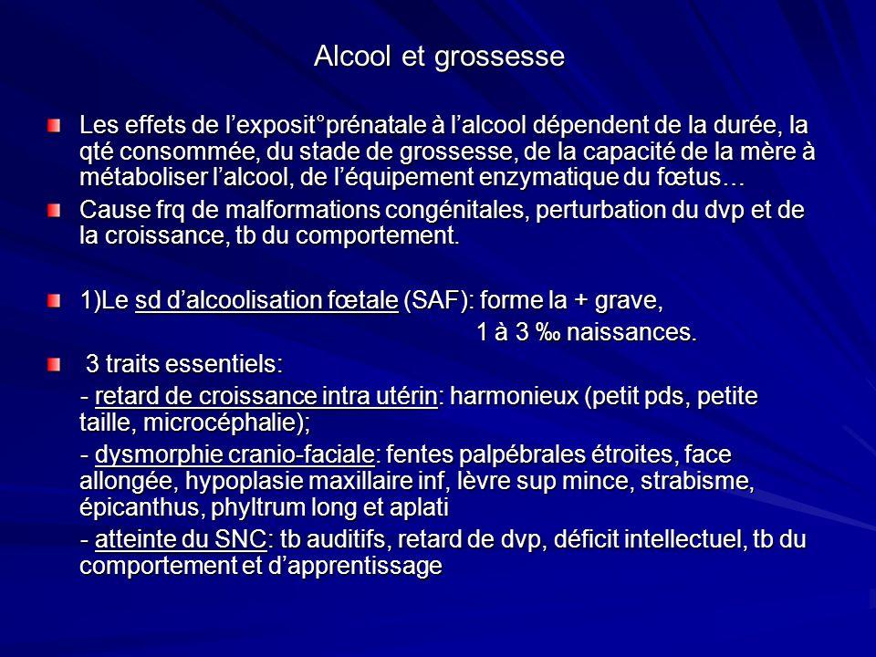 Alcool et grossesse Les effets de lexposit°prénatale à lalcool dépendent de la durée, la qté consommée, du stade de grossesse, de la capacité de la mè