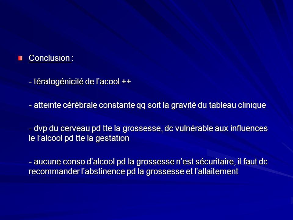 Conclusion : - tératogénicité de lacool ++ - tératogénicité de lacool ++ - atteinte cérébrale constante qq soit la gravité du tableau clinique - attei