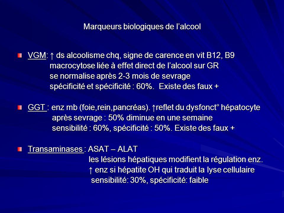 Marqueurs biologiques de lalcool VGM: ds alcoolisme chq, signe de carence en vit B12, B9 macrocytose liée à effet direct de lalcool sur GR macrocytose