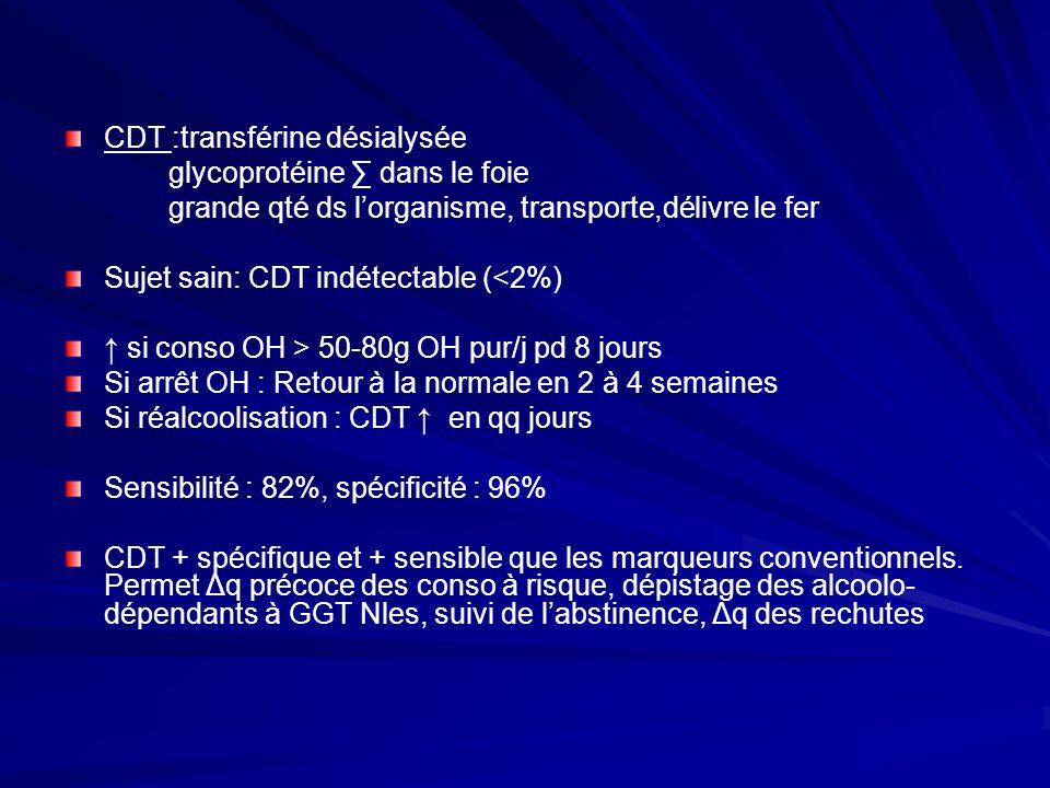 CDT :transférine désialysée glycoprotéine dans le foie grande qté ds lorganisme, transporte,délivre le fer Sujet sain: CDT indétectable (<2%) si conso