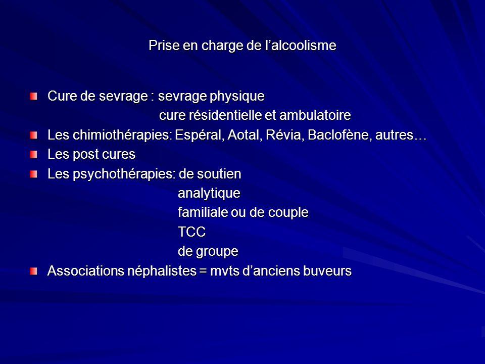 Prise en charge de lalcoolisme Cure de sevrage : sevrage physique cure résidentielle et ambulatoire cure résidentielle et ambulatoire Les chimiothérap