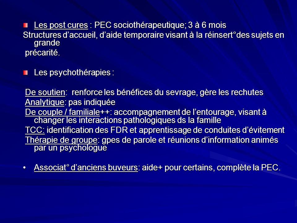 Les post cures : PEC sociothérapeutique; 3 à 6 mois Structures daccueil, daide temporaire visant à la réinsert°des sujets en grande précarité. précari