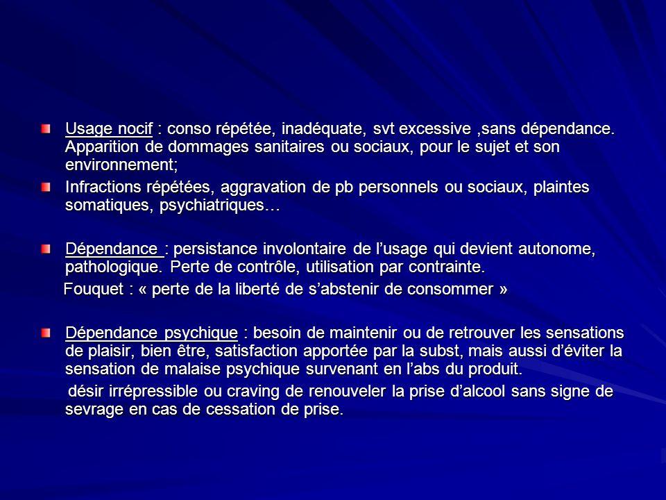 Effets psychotropes de lalcool A court terme : désinhibition, convivialité anxiolytique pour apaiser langoisse anxiolytique pour apaiser langoisse antidépresseur, sédatif, amnésiant, anesthésiant antidépresseur, sédatif, amnésiant, anesthésiant tb cognitif avec baisse de lucidité, acte médico-légal tb cognitif avec baisse de lucidité, acte médico-légal A moyen terme : effets anxiogène (augmentat° des doses) effets dépréssogène effets dépréssogène altérations cognitives: tb mémoire, tb attention altérations cognitives: tb mémoire, tb attention hyperémotivité, irritabilité, colères hyperémotivité, irritabilité, colères tb comportement: violence, suicide, prise de risque tb comportement: violence, suicide, prise de risque tb sommeil avec insomnie++ tb sommeil avec insomnie++ tb libido, infertilité tb libido, infertilité