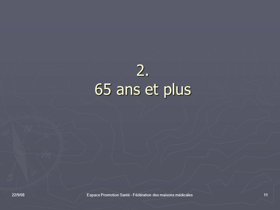 22/9/08Espace Promotion Santé - Fédération des maisons médicales11 2. 65 ans et plus