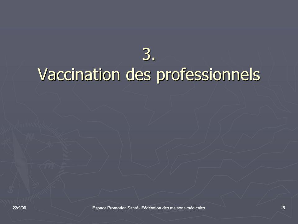 22/9/08Espace Promotion Santé - Fédération des maisons médicales15 3. Vaccination des professionnels