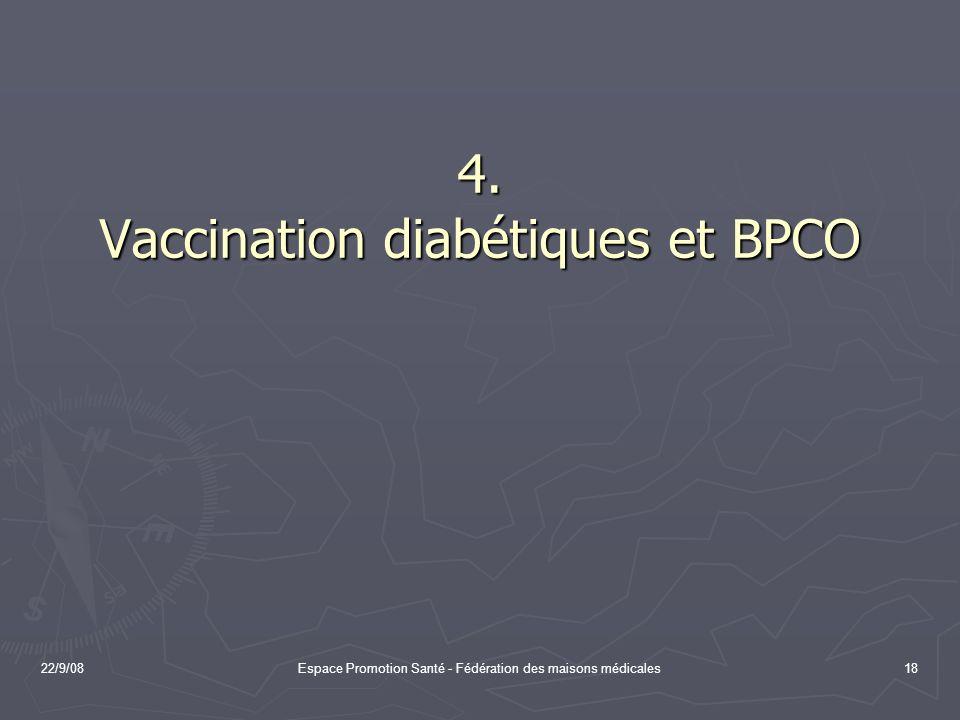 22/9/08Espace Promotion Santé - Fédération des maisons médicales18 4. Vaccination diabétiques et BPCO