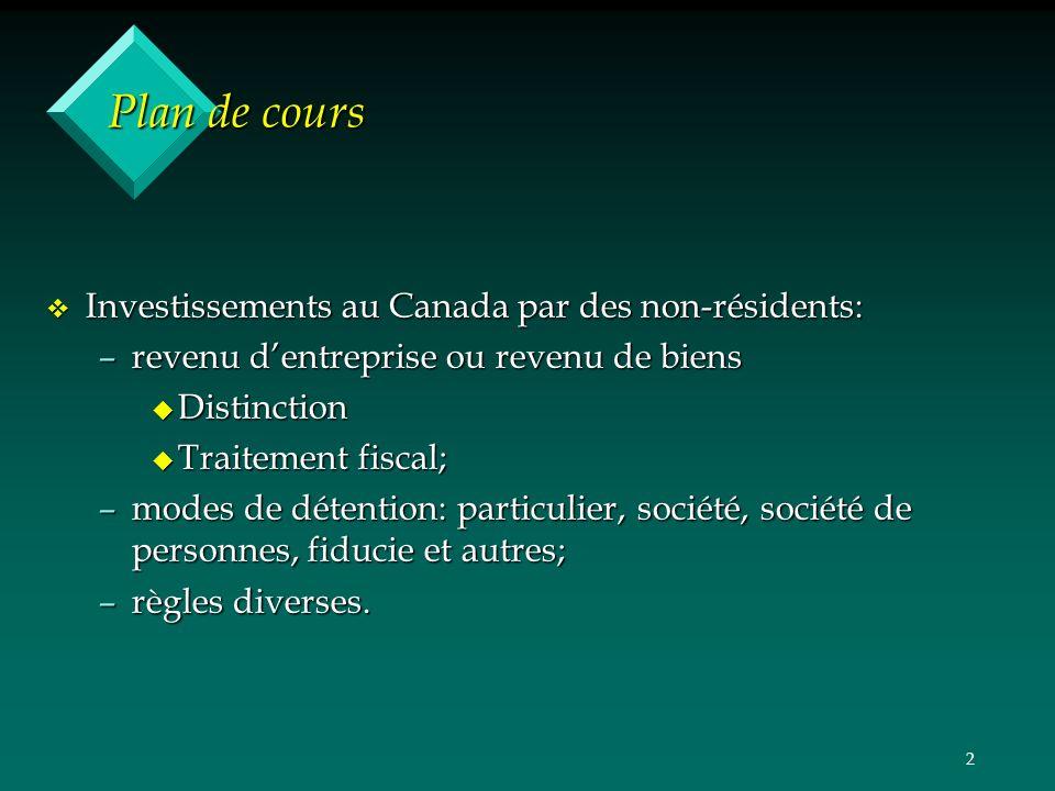 2 Plan de cours v Investissements au Canada par des non-résidents: –revenu dentreprise ou revenu de biens u Distinction u Traitement fiscal; –modes de détention: particulier, société, société de personnes, fiducie et autres; –règles diverses.