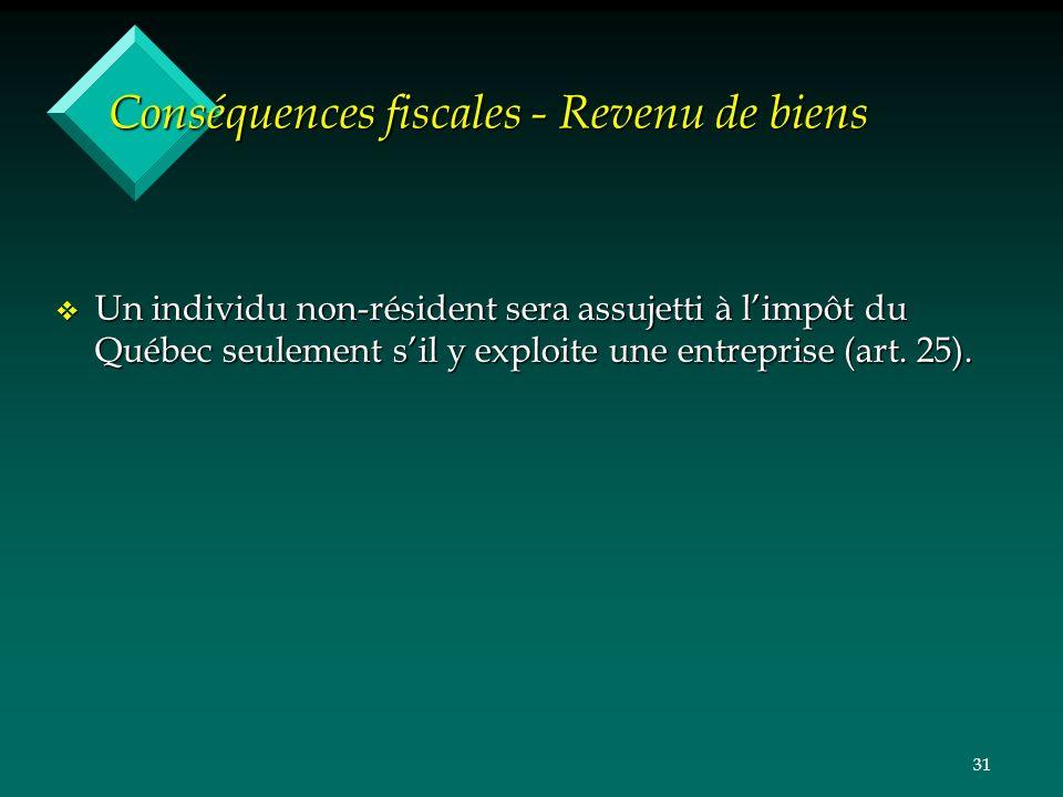 31 Conséquences fiscales - Revenu de biens v Un individu non-résident sera assujetti à limpôt du Québec seulement sil y exploite une entreprise (art.